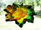Handcrafted FUSED GLASS Giant 85 Fall CANADIAN MAPLE LEAF Suncatcher