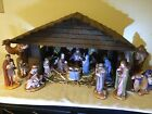 Large Vintage Nativity Set With Stable Jewels And Hay