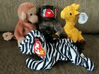 TY Beanie Baby Bundle of 4 JUNGLE critters-- Mint condition, fast shipping