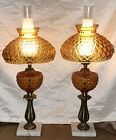 VINTAGE 27 MATCHING PAIR QUILTED AMBER GLASS GWTW OIL HURRICANE TABLE LAMPS