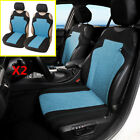 2Pcs Polyester T shirt Design Car Front Seat Cover Seat Protector Cushion Blue