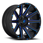 4 20x10 Fuel Gloss Black  Blue Contra Wheel 6X135 6X1397 For Toyota Jeep