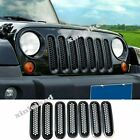 Black Trim Front Mesh Grill Grille Cover for Jeep JK 2007 2015 Wrangler 7PCS