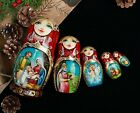 Christmas nesting dolls Wooden Nativity set Matryoshka with Nativity scene