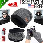 Winter Beanie Knit Hat Scarf Set Warm Thick Knit Cap Touch Screen Glove Unisex