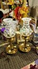 Lovely PAIR of Fenton coin dot candlestick lamps w shade 13