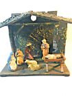 Vintage Nativity Manger Set with Wooden Creche West Germany 7 pieces