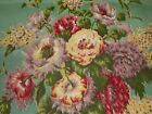 Antique Shabby Roses Floral Faille Satin Fabric Dusty Green Lavender Yellow