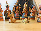 VINTAGE MEXICAN TRADITIONAL Clay NATIVITY Scene Set 10 Pieces Plus Manger