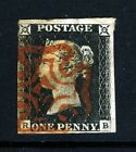 GB QV PENNY BLACK 1840 Plate 1b RB Red Maltese X SG 2 Specialised AS5 VFU