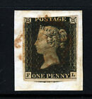 GB QV PENNY BLACK 1840 Plate 1b FL ON PIECE Red MX SG 2 Specialised AS5 VFU