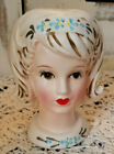 Vintage Leftons 1950s Teen Head Vase 1229 Sticker Intact Made in Japan