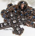 HANDMADE COPPER ROSARY HUGE STATEMENT CROSS BLUE GREY CAPPED GLASS MARY CAMEO