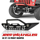 Front Bumper with Built in LED Lights D Ring Shackles For Jeep Wrangler 07 18 JK