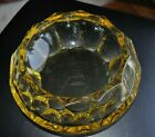 Moser Signed Antique Yellow Amber Glass Bowl Vase c 1900 signed