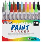 18 Color Set Paint Markers With Extra Fine Point Tip Oil Based Paint Pen Markers