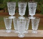 Vintage SET of 8 Hazel Atlas Big Top Peanut Butter Gothic Style FOOTED TUMBLERS