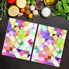 Glass Chopping Board Bright pastel mosaic Colourful green purple and yellow