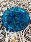 Vintage Aqua BLUE Moon and Stars DIVIDED DISH Vegetable Plate TURQUOISE