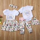 H Baby Girls Matching Clothes Little Big Sister Tops Romper Pants Dress Outfits