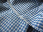 Vintage French Blue White Gingham Check Plaid Loom Woven Cotton Fabric