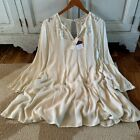 L New Bohemian Lace Tunic Cream Green Dress Vtg 70s Insp Boutique Womens LARGE
