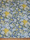 Sale Bristol Daisy Floral on Blue with Yellow 100 Cotton Fabric By Yards