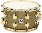 DW Collectors Series Snare Drum 8 x 14 Gold Glass with Gold Hardware