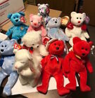 TY BEANIE BABIES LOT OF 10 DIFFERENT BEARS- HOLIDAY TEDDY,BLESSED,SAM,CLASSY