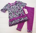 Girls Little Lass Purple Gray Leopard Lace Sweater Top and Pants Outfit Sz 12M