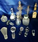Vintage Lot of Perfume Bottles  Glass Stoppers Crystal Frosted Clear Faceted