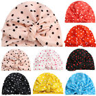 Cute Kids Baby Girls Turban Bow Knot Head Wrap Spotted Beanie Hats Cotton Cap
