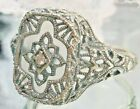 Art Deco Camphor Glass Sterling Silver 1930s Filigree Ring Made To Order