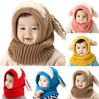 Boys Girs Warm Cute Hat Scarf Knitted Beanies Toddler Kids Rabbit Earflap Caps