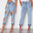 Sexy Ripped Jeans Beggar Broken Torn Pants Vintage Female Denim Trousers Distres