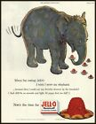 CUTE ELEPHANT 1954 Illustration for JELL-0 ADVERTISEMENT [Not Pudding]