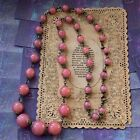 Art Deco Pink Art Glass Bead Necklace