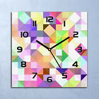 Glass Wall Clock Decor Bright pastel mosaic Colourful green purple and yellow