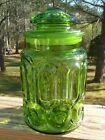 Stars Green Glass 9.5 SUGAR CANISTER JAR with Ground Lid