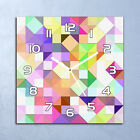 Glass Clock 30x30 Wall Bright pastel mosaic Colourful green purple and yellow