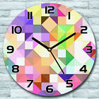 Glass Wall Clock Bright pastel mosaic Colourful green purple and yellow Round