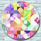 Glass Wall Clock Round Bright pastel mosaic Colourful green purple and yellow