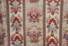 Antique French Stylized Kilim Design Cotton Fabric Teal Blue Red Ochre