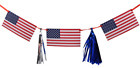 Fourth of July Patriotic Decorations Flag and Tassel Garland 9 ft Red White Blue