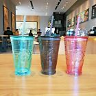 STARBUCKS China Classic Pink Black Green Blue Glass Cup Tumbler with Straw 473ML