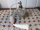 Vintage Pink Swirl Marbled Glass Perfume Bottle Atomizer W Pink Bulb