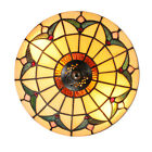 Tiffany Ceiling Light Retro Stained Glass Shade Flush Mount Ceiling Lamp Fixture