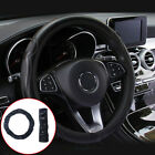 Black Car Steering Wheel Cover Leather Breathable Anti-slip 15''/38cm Interior
