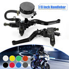 7 8 22mm Motorcycle Brake Clutch Master Cylinder Levers Hydraulic Reservoir