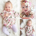 Newborn Baby Girl Boy Clothes Set Long Sleeve Romper Jumpsuit Floral Outfits